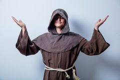 Portrait of Young catholic monk. On white background Royalty Free Stock Images