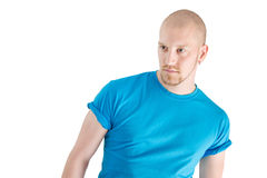 Portrait of a young caucasian bald man isolated on white Royalty Free Stock Images