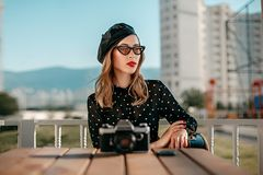 Portrait of a young caucasian beautiful girl in retro style. stock images