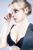 Portrait of Young Caucasian Blond Female in Black Lingerie Touch Stock Photography