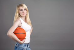 Portrait of Young Caucasian Blond Female  Posing in Studio with Stock Images