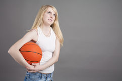 Portrait of Young Caucasian Blond Female  Posing in Studio with Stock Photo
