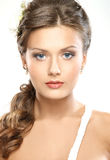 Portrait of a young Caucasian bride in makeup Royalty Free Stock Photos