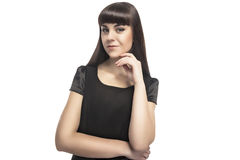Portrait of Young Caucasian Brunette Woman Isolated Over White Royalty Free Stock Photography