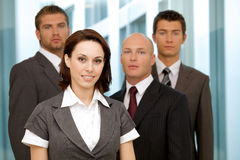 Portrait of young caucasian business people in office Stock Photo