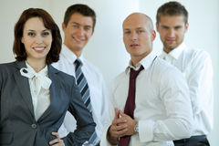 Portrait of young caucasian business people in office Stock Photos