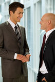 Portrait of young caucasian business people talking in office Royalty Free Stock Image