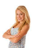 Portrait of young caucasian business woman isolated over white ceo Royalty Free Stock Photography