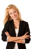 Portrait of young caucasian business woman isolated over white ceo Royalty Free Stock Image