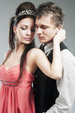Portrait of Young Caucasian Couple in Love Posing in Studio Stock Photography