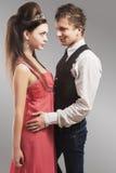 Portrait of Young Caucasian Couple in Love Posing in Studio. Stock Photos