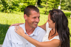Portrait of young Caucasian couple outdoors Stock Photo