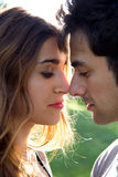 Portrait of young caucasian couple at the park Royalty Free Stock Photography