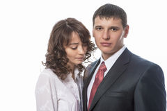 Portrait of Young Caucasian Couple Standing Together. Isolated o Stock Images