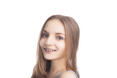 Portrait of Young Caucasian Girl  Wearing  Teeth Brackets Royalty Free Stock Photography