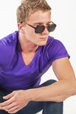 Portrait of Young caucasian handsome Man in Eyeglasses Stock Images