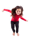 Portrait of Young caucasian little girl jumping Stock Photos