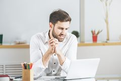 Caucasian male using laptop Royalty Free Stock Image
