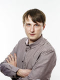 Portrait of young caucasian man, isolated over a white backgroun Stock Photo