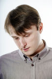 Portrait of young caucasian man, isolated over a white backgroun Royalty Free Stock Image