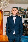 Portrait of young caucasian man wearing stylish elegant suit with bow tie Stock Photos