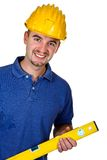Portrait of young caucasian manual worker. On white background Stock Image