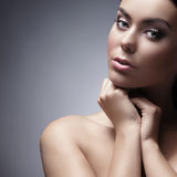Portrait of a young Caucasian woman in makeup Stock Image