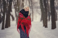 Portrait of a young caucasian woman in russian style on a strong frost in a winter snowy day. Russian model girl. Portrait of a young caucasian woman in russian Stock Photos