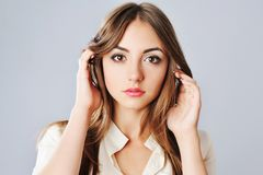 Portrait of young caucasian woman. Royalty Free Stock Photos