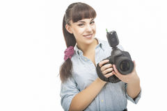 Portrait of Young Caucasian Woman Taking Images With Professiona Royalty Free Stock Photos
