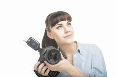 Portrait of Young Caucasian Woman Taking Images With Professiona Royalty Free Stock Image