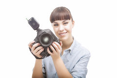Portrait of Young Caucasian Woman Taking Images With Professiona Royalty Free Stock Photo