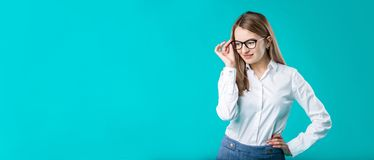 Blank for advertising. Portrait young caucasian woman worker teacher coach mentor in white shirt office style business lady leader stock image