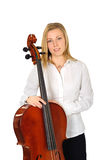 Portrait of young cellist. Standing on white background stock photography