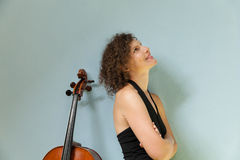 Portrait of young cellist Royalty Free Stock Photos