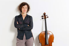 Portrait of young cellist Royalty Free Stock Image