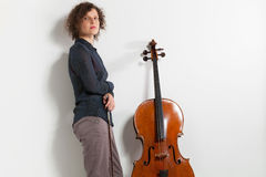 Portrait of young cellist Royalty Free Stock Photography