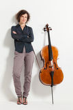 Portrait of young cellist Stock Images