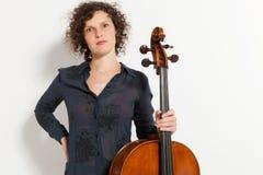 Portrait of young cellist Stock Photos