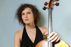 Portrait of young cellist Royalty Free Stock Images