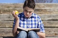 Portrait.Young chłopiec czyta książkę w drewnianych schodkach, lato zdjęcie royalty free