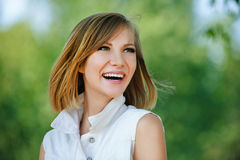 Portrait young charming short-haired woman Stock Images