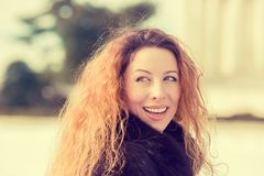 Portrait young cheerful beautiful woman outdoors Stock Image