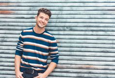 Portrait of young cheerful man smiling, glad guy royalty free stock photo