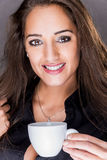Portrait of young cheerful smiling woman Stock Photo