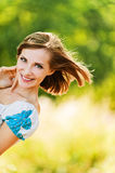 Portrait young cheerful woman peeps Royalty Free Stock Photography