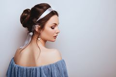 Portrait of young cheerful woman royalty free stock photo