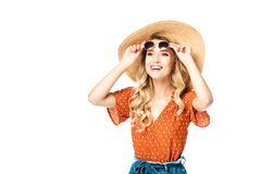 portrait of young cheerful woman in straw hat and sunglasses laughing royalty free stock image