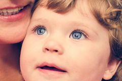 Portrait of a young child with blue eyes close-up Royalty Free Stock Image