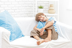 Portrait of young child boy at home Stock Photo